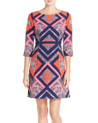 Vince Camuto - Pink Geo Print Crepe A-line Dress - Lyst
