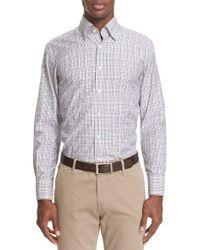 Canali - Purple Trim Fit Check Sport Shirt for Men - Lyst