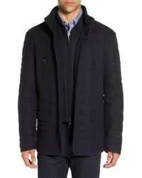 Corneliani - Blue Quilted Wool Blend Coat With Bib for Men - Lyst