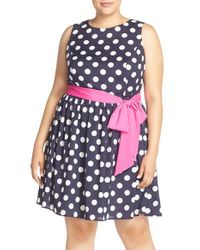 Eliza J | Blue Polka Dot Fit & Flare Dress | Lyst