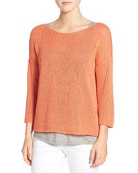 Eileen Fisher - Orange Organic Cotton Tape Yarn Bateau Neck Sweater - Lyst