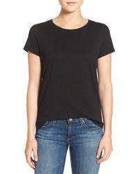 Eileen Fisher - Black Slub Organic Cotton Jersey Tee - Lyst