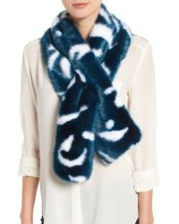 Ted Baker | Blue Colorblock Faux Fur Scarf | Lyst