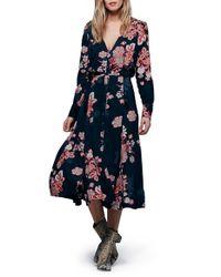 Free People - Blue 'miranda' Floral Print Midi Dress - Lyst