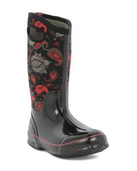 Bogs | Black 'classic Paisley' Tall Waterproof Snow Boot With Cutout Handles | Lyst