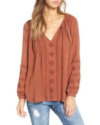Amuse Society - Brown 'caprice' Embroidered Peasant Top - Lyst