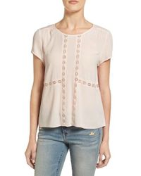 Hinge | Pink Lace Inset Swing Top | Lyst