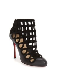Christian Louboutin - Black Cajaboot Leather and Suede Ankle Boots - Lyst