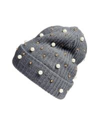 Cara | Gray Embellished Beanie | Lyst