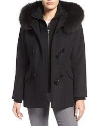George Simonton | Black Wool Blend Duffle Coat With Genuine Fox Fur Trim | Lyst