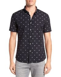 7 Diamonds - Blue 'frontera' Short Sleeve Jacquard Sport Shirt for Men - Lyst