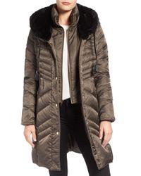 Via Spiga - Multicolor Water Repellent Puffer Coat With Faux Fur Trim - Lyst
