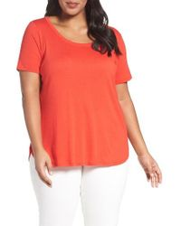 Sejour | Red Scoop Neck Tee | Lyst