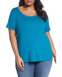 Sejour - Blue Scoop Neck Tee - Lyst