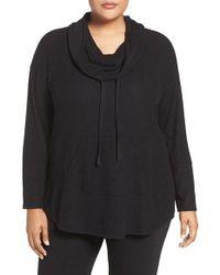 Sejour | Black Drawstring Cowl Neck Pullover | Lyst