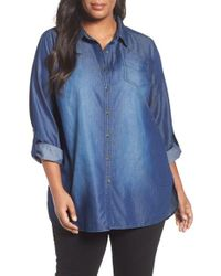 Sejour | Blue Chambray Tunic Shirt | Lyst
