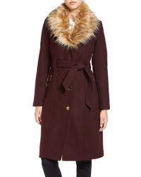 Guess | Multicolor Trench Coat With Faux Fur Trim | Lyst