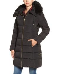 Guess | Black Faux Fur Trim Hooded Lace-up Detail Quilted Coat | Lyst