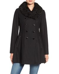 Guess | Black Fit & Flare Coat With Faux Fur Collar | Lyst