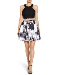 Blondie Nites - Black Two-piece Floral Print Party Dress - Lyst