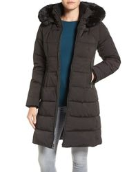 Vince Camuto | Black Down & Feather Fill Coat With Faux Fur Trim Hood | Lyst