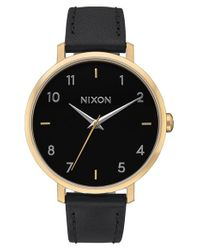 Nixon | Black The Arrow Leather Strap Watch | Lyst