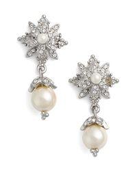 Marchesa | Metallic Faux Pearl & Crystal Drop Earrings | Lyst