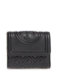 Tory Burch | Black 'mini Fleming' Quilted Lambskin Leather Wallet | Lyst