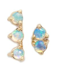 Wwake   Blue 'counting Collection - Three-step & Two-step' Opal Earrings   Lyst