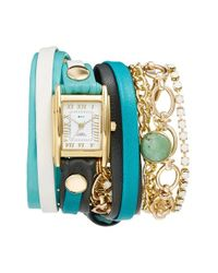 La Mer Collections | Metallic Leather & Chain Wrap Bracelet Watch | Lyst