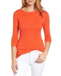 Caslon | Orange Caslon Three Quarter Sleeve Tee | Lyst