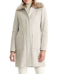 Lauren by Ralph Lauren | Gray Wool Blend Coat With Faux Fur Collar | Lyst