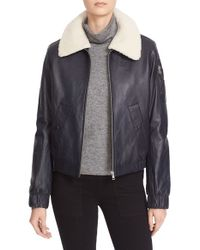 See By Chloé | Blue Nappa Leather Jacket With Removable Genuine Shearling Collar | Lyst