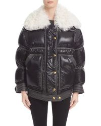 Burberry Prorsum | Black Burberry Puffer Coat With Removable Genuine Shearling Collar | Lyst
