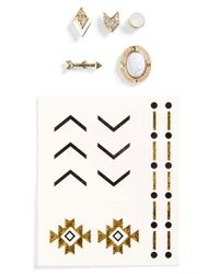 TOPSHOP | Multicolor Mismatched Stud Earrings & Temporary Tattoos | Lyst