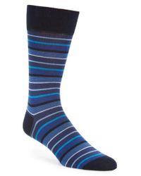 Bugatchi | Blue Pop Stripe Mercerized Cotton Socks for Men | Lyst