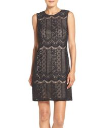 Adrianna Papell | Black Lace A-line Dress | Lyst