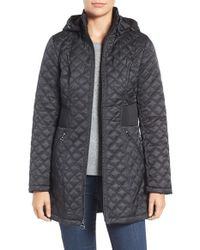 Laundry by Shelli Segal | Black Quilted Hooded Coat | Lyst