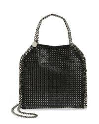 Stella McCartney | Black 'mini Falabella' Studded Faux Leather Tote | Lyst