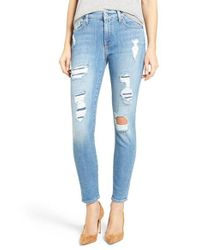 7 For All Mankind | Blue 7 For All Mankind Embellished & Ripped Ankle Skinny Jeans | Lyst