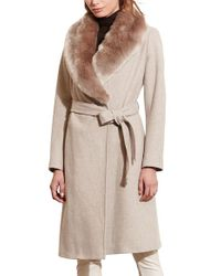 Lauren by Ralph Lauren | Natural Faux Fur Collar Wool Blend Long Wrap Coat | Lyst