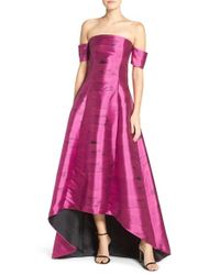 Sachin & Babi - Pink 'loren' Off The Shoulder Jacquard High/low Gown - Lyst