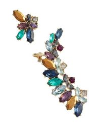 Marchesa - Blue Mismatched Cluster Crystal Earrings - Lyst