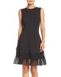 Julia Jordan | Black Lace Hem Fit & Flare Dress | Lyst