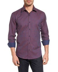 Bugatchi - Purple Shaped Fit Check Sport Shirt for Men - Lyst