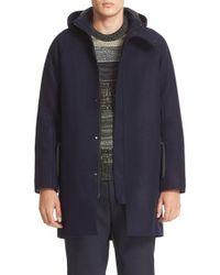 Acne | Blue Milton Raw Cut Wool Hooded Coat for Men | Lyst