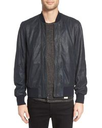 John Varvatos - Gray Double Zip Leather Bomber Jacket for Men - Lyst
