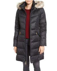 Ellen Tracy | Black Faux Fur Trim Matte Satin Down Coat | Lyst
