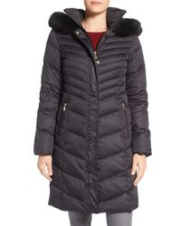 Ellen Tracy | Black Quilted Down Coat With Genuine Fox Fur Trim | Lyst
