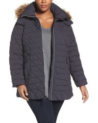 Andrew Marc | Gray Down Jacket With Faux Fur Trim Hood | Lyst